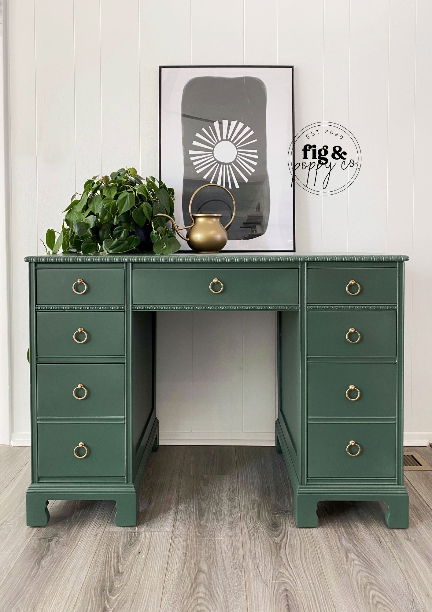 Desk in Hollow Hill with Gold Hardware