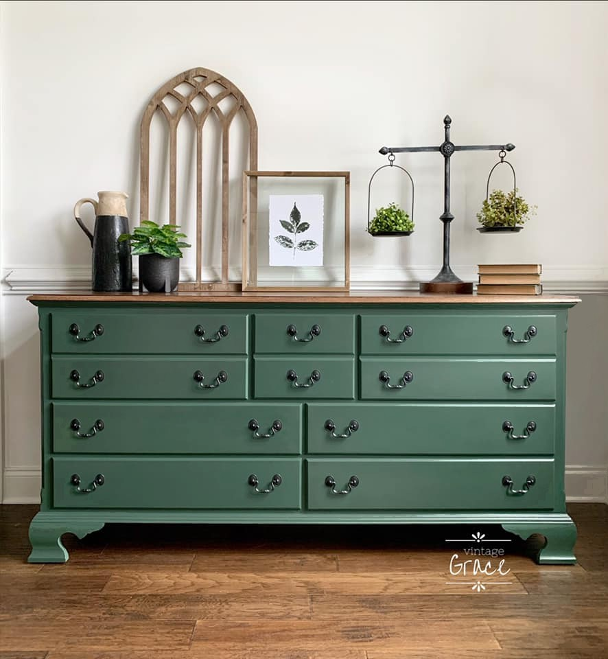 Seven Drawer Dresser in Hollow Hill with Natural Wood Top
