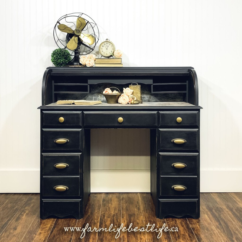 Executive Roll Top Desk with Storage in Liquorice