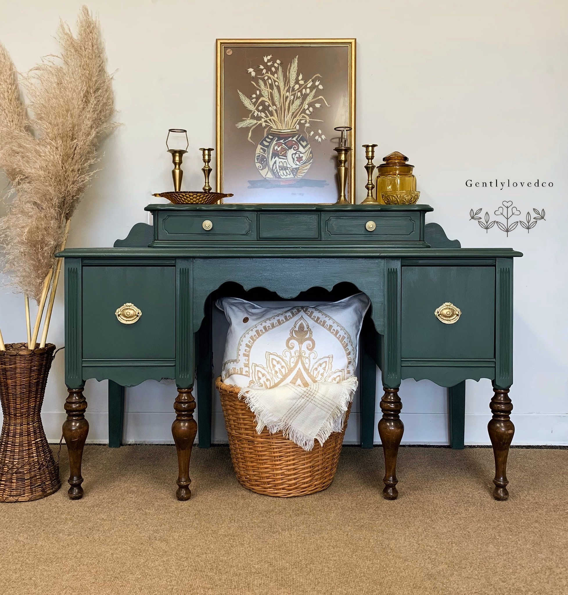 Vanity/Desk in Hollow Hill with Gold Hardware