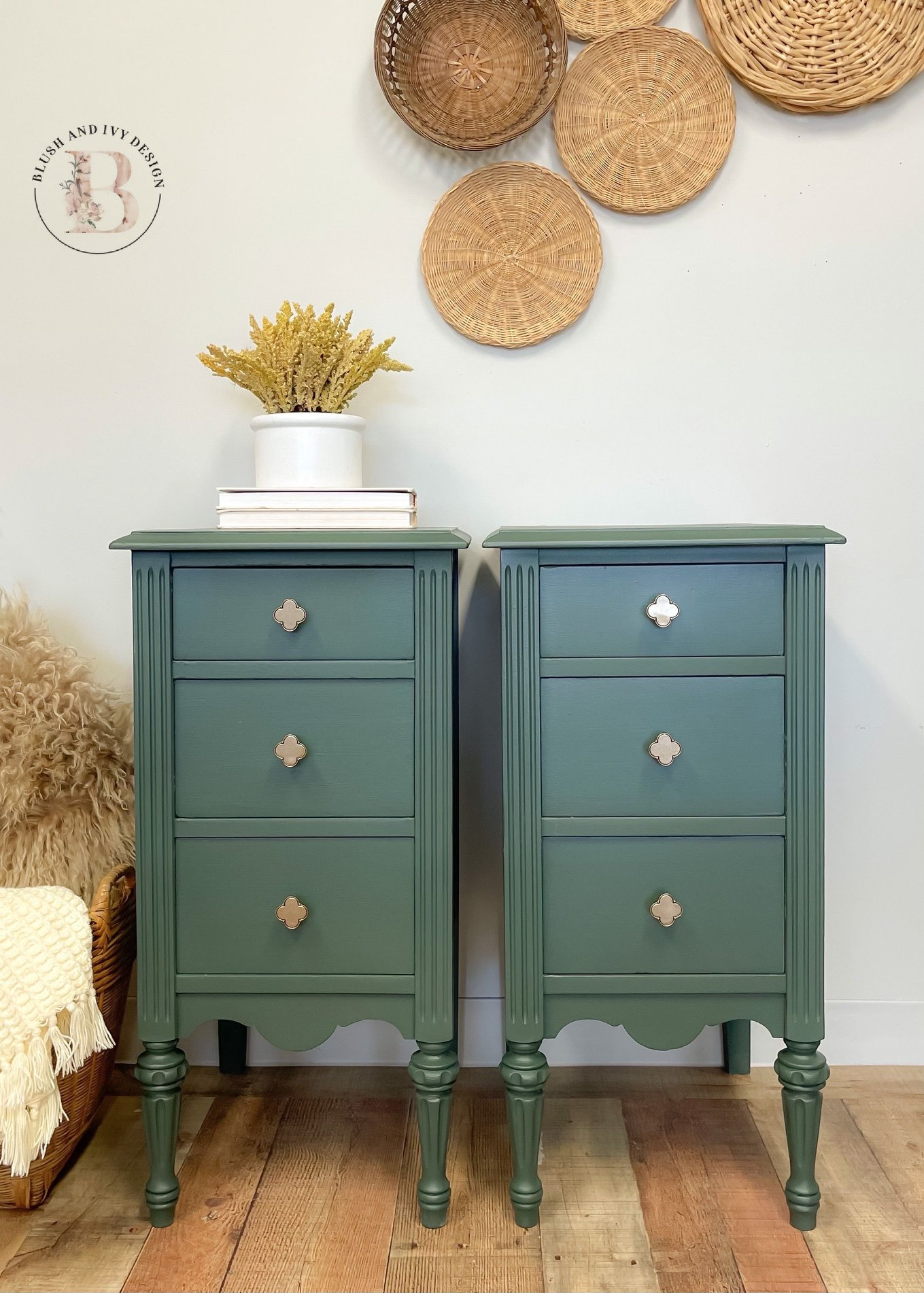 Decorative End Tables in Hollow Hill with white pitcher and wicker wall
