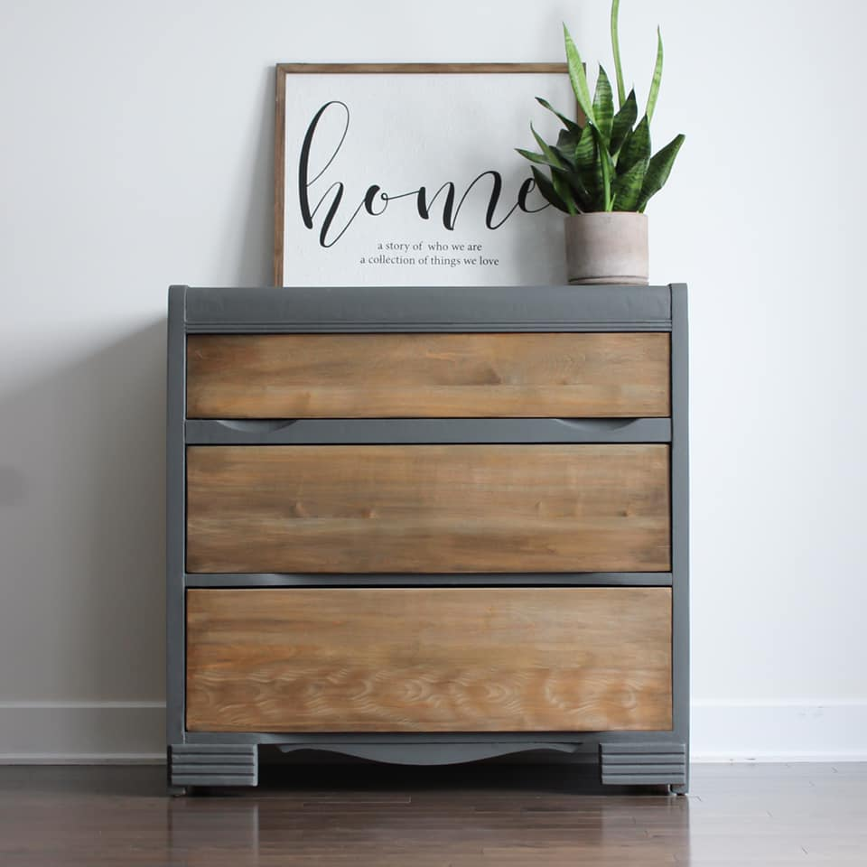Three Drawer Dresser with Stained Wood Drawers and Cobblestone Accents