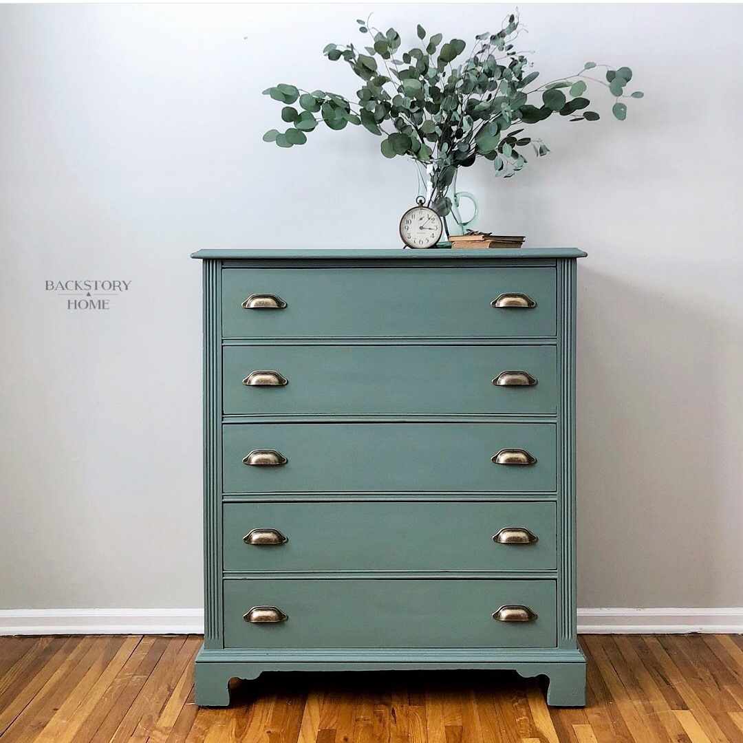 Tall Five Drawer Dresser in Wanderess with Pewter Hardware