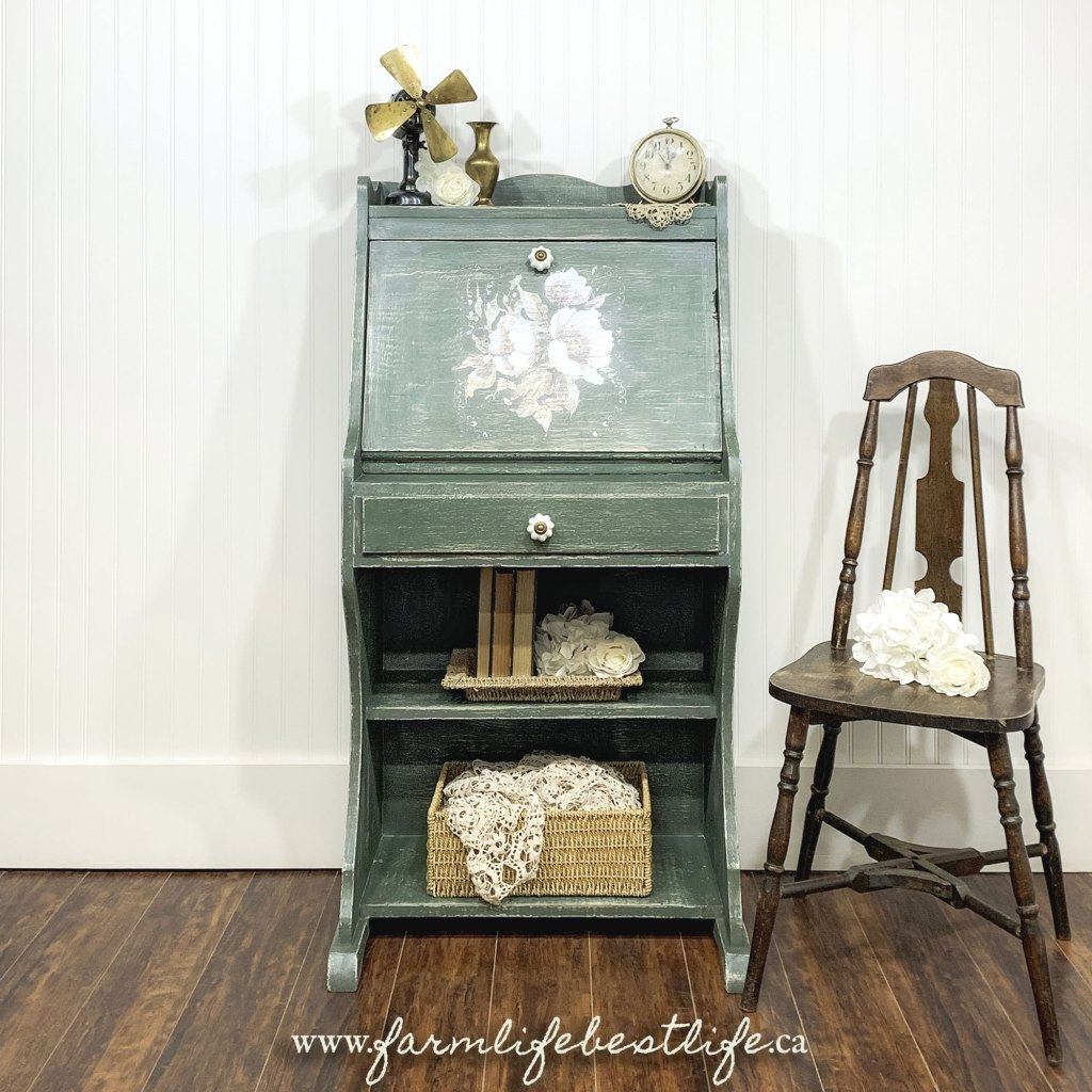 Desk/Dresser with Floral Stencil in Hollow Hill with White Wax