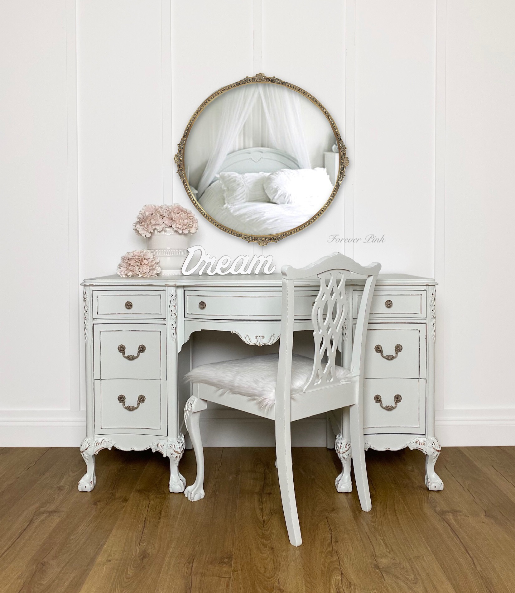 French Provincial Desk and Upholstered Chair in Lazy Linen