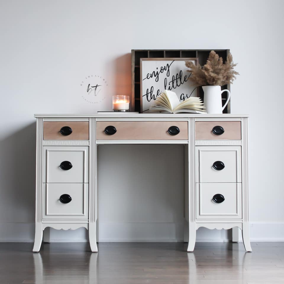 Seven Drawer Desk in Crinoline with Natural Wood Drawers