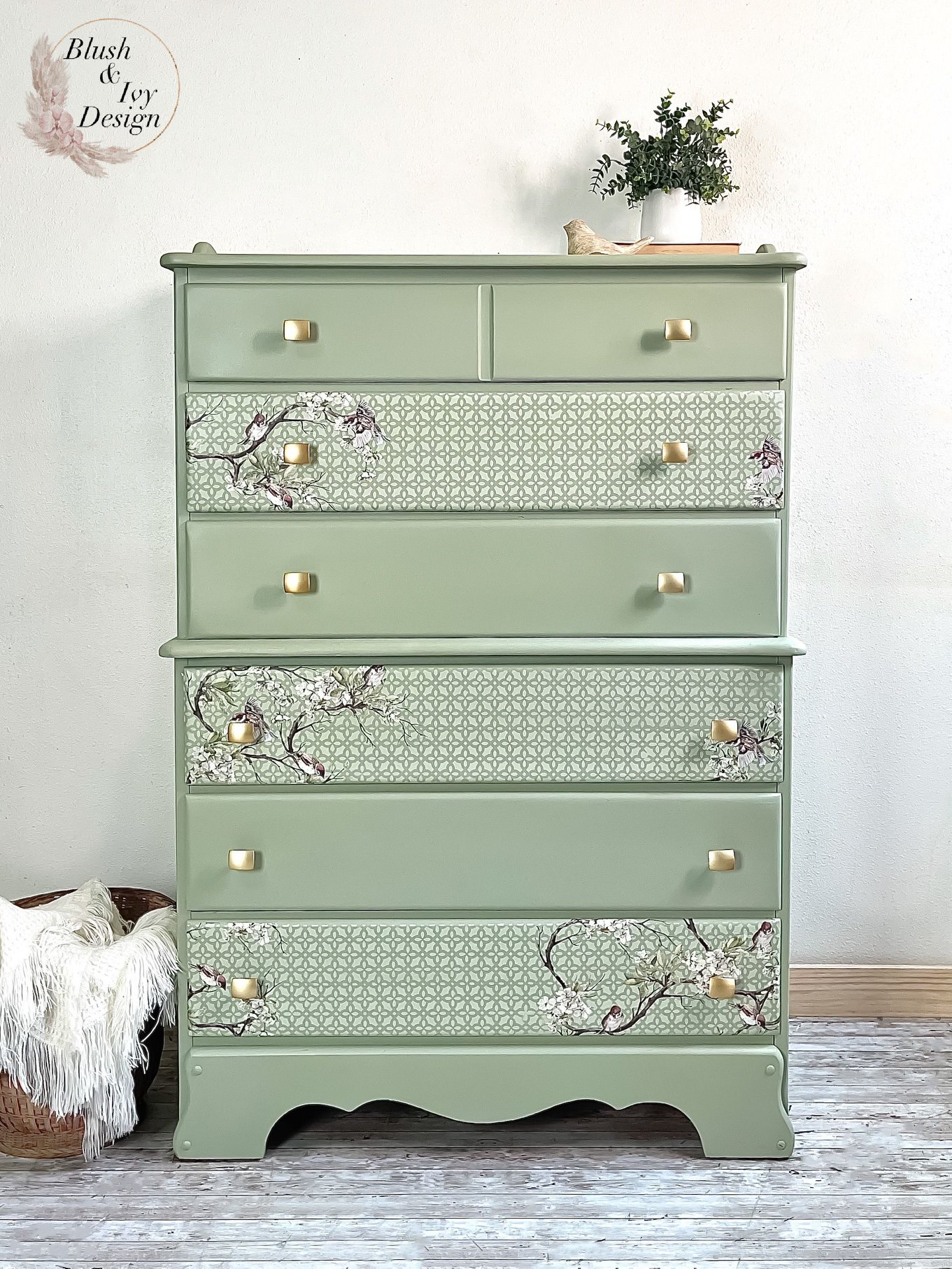 Tall 6 Drawer Dresser in Sage Advice with Floral Stencil