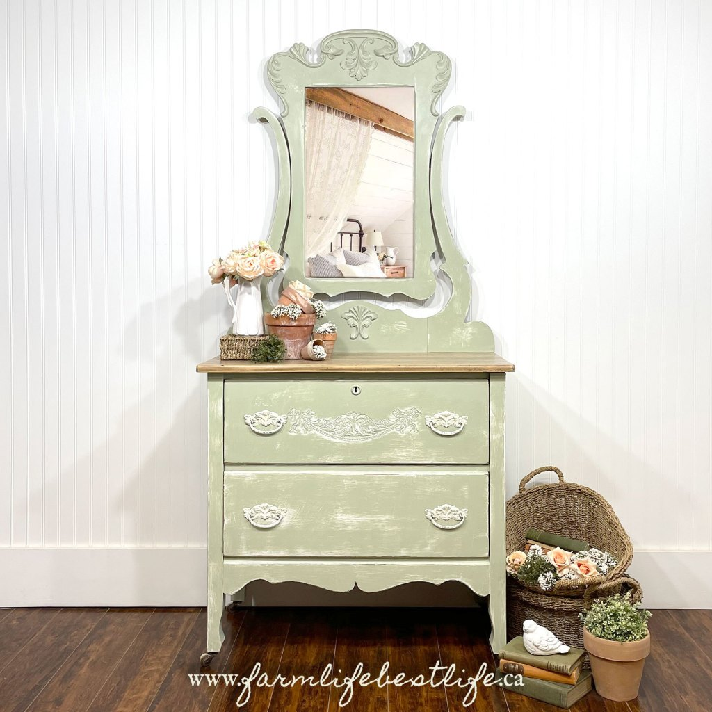 Two Drawer Dresser/Vanity in Sage Advice with White wax and Natural Wood Top