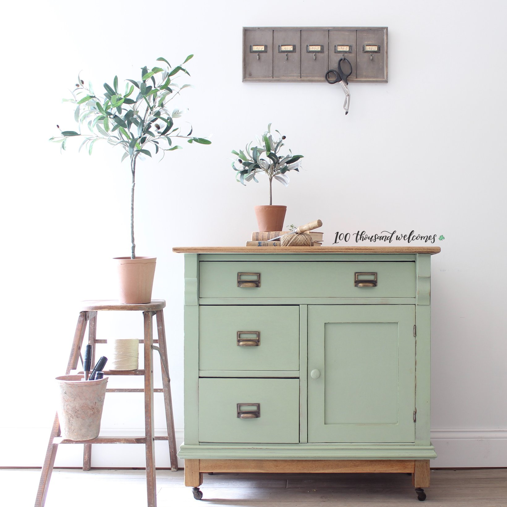Farmhouse Storage Cabinet in Sage Advice with Library Pulls and Natural Wood Top