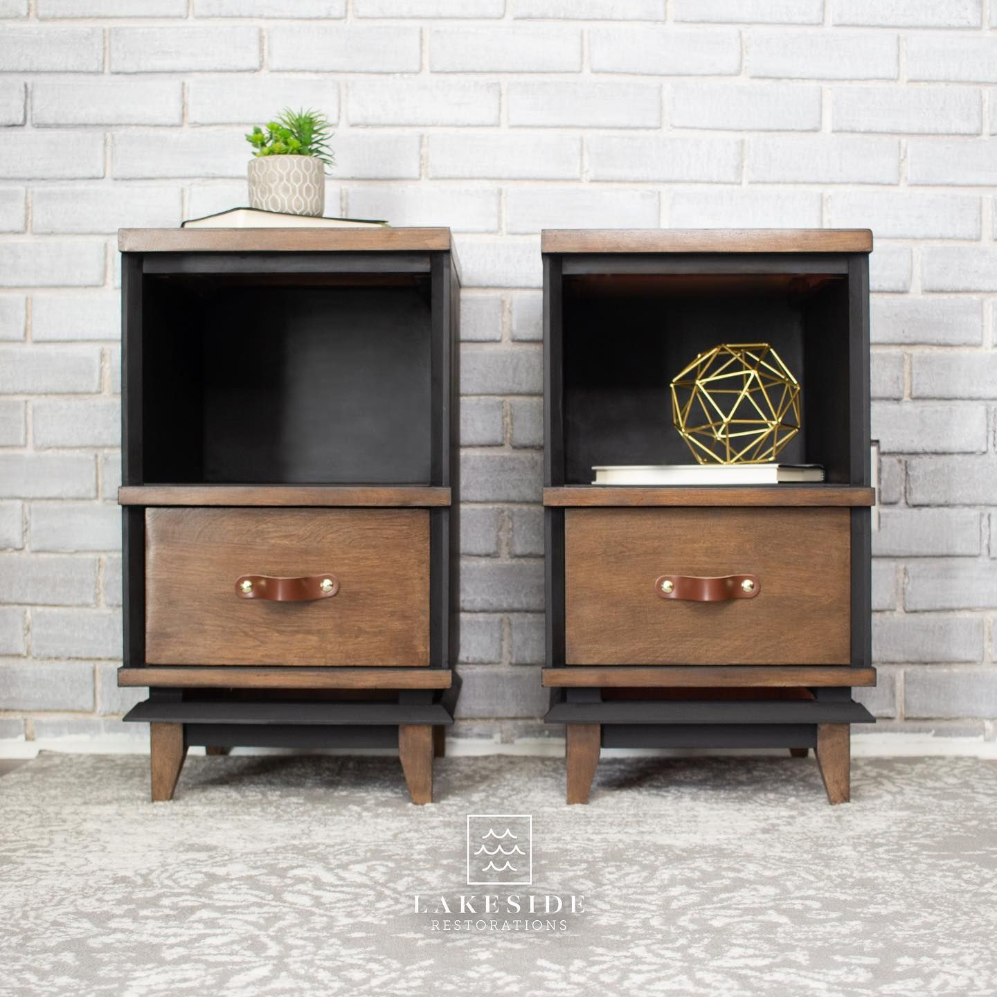 Pair of Accent/Storage Tables in Liquorice with Stained Wood Drawers and Top