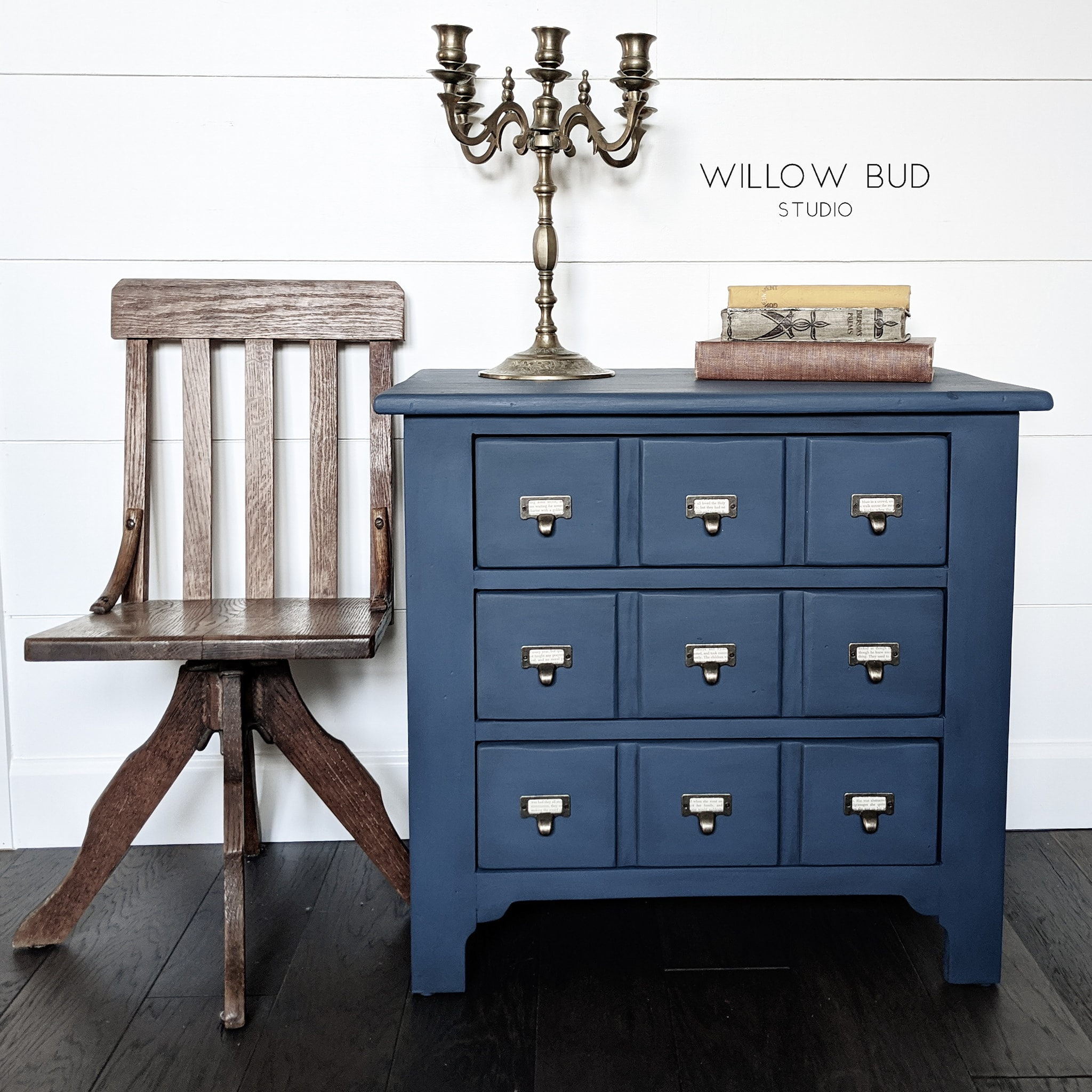 Small Apothecary Cabinet in Peacoat with Catalog Pulls