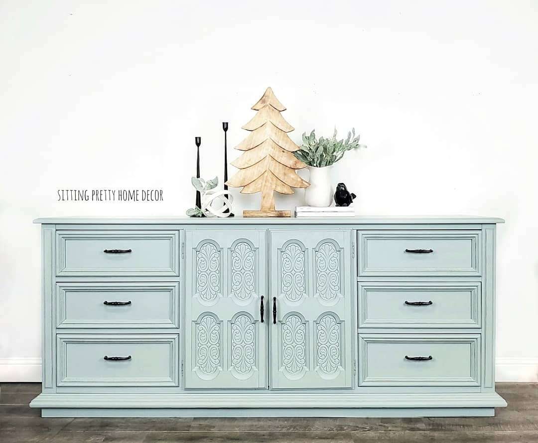 Large Buffet/Dresser in Fancy Frock with Pewter Accents