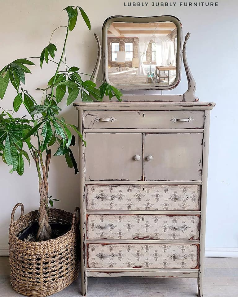 Tall Dresser with Mirror in Driftwood