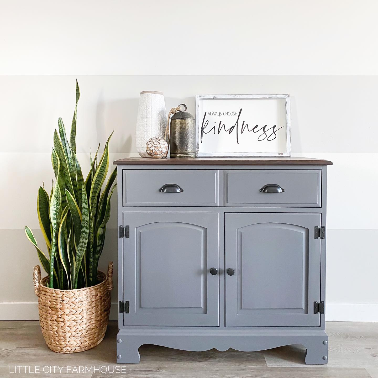 Two-Drawer Cabinet in Cobblestone with Pewter Hardware and Hinges