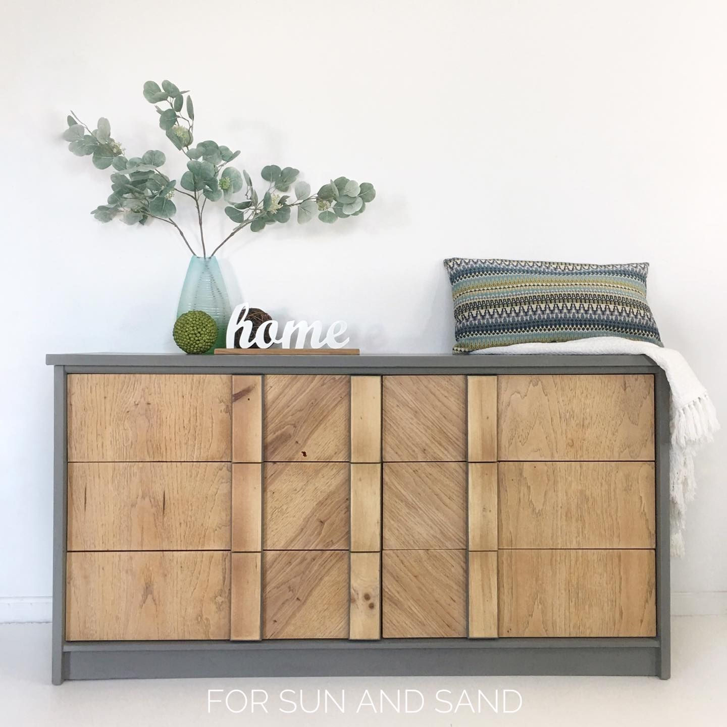 Modern Dresser in Cobblestone with Natural Wood Drawers