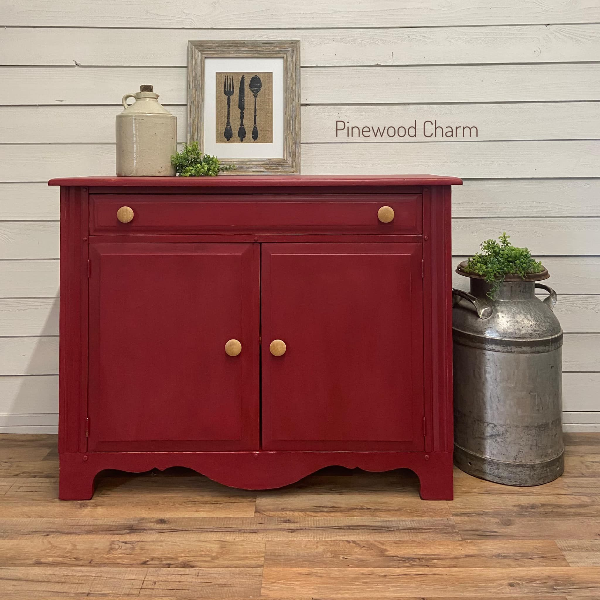 Farmhouse Storage Cabinet in Cranberry Sauce with Black Wax