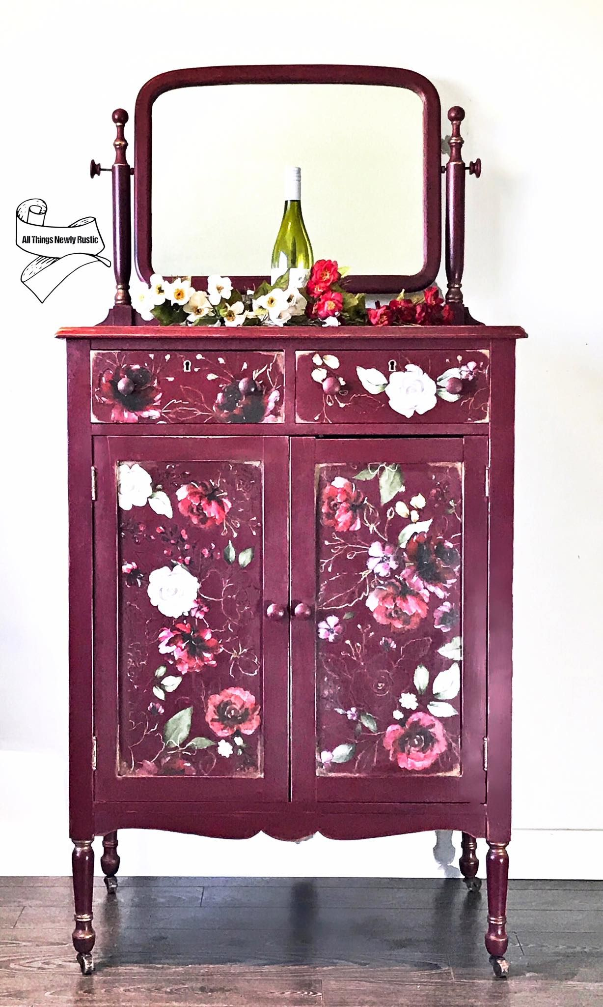 Tall Cabinet with Mirror in a Cranberry Sauce/Liquorice Mix