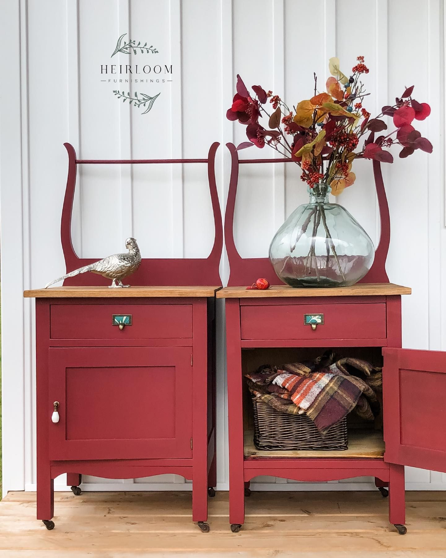 Set of Accent Tables with Storage in Cranberry Sauce