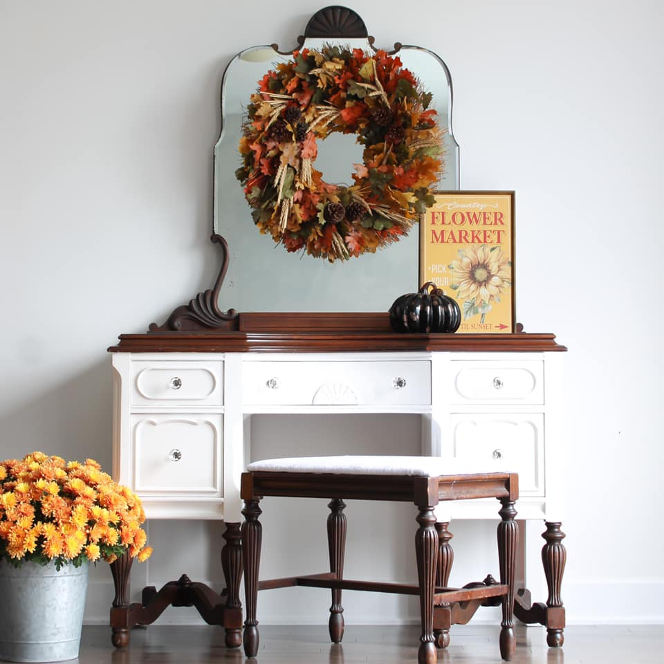 Desk/Vanity with Stool in Crinoline with Dark Wood Accents