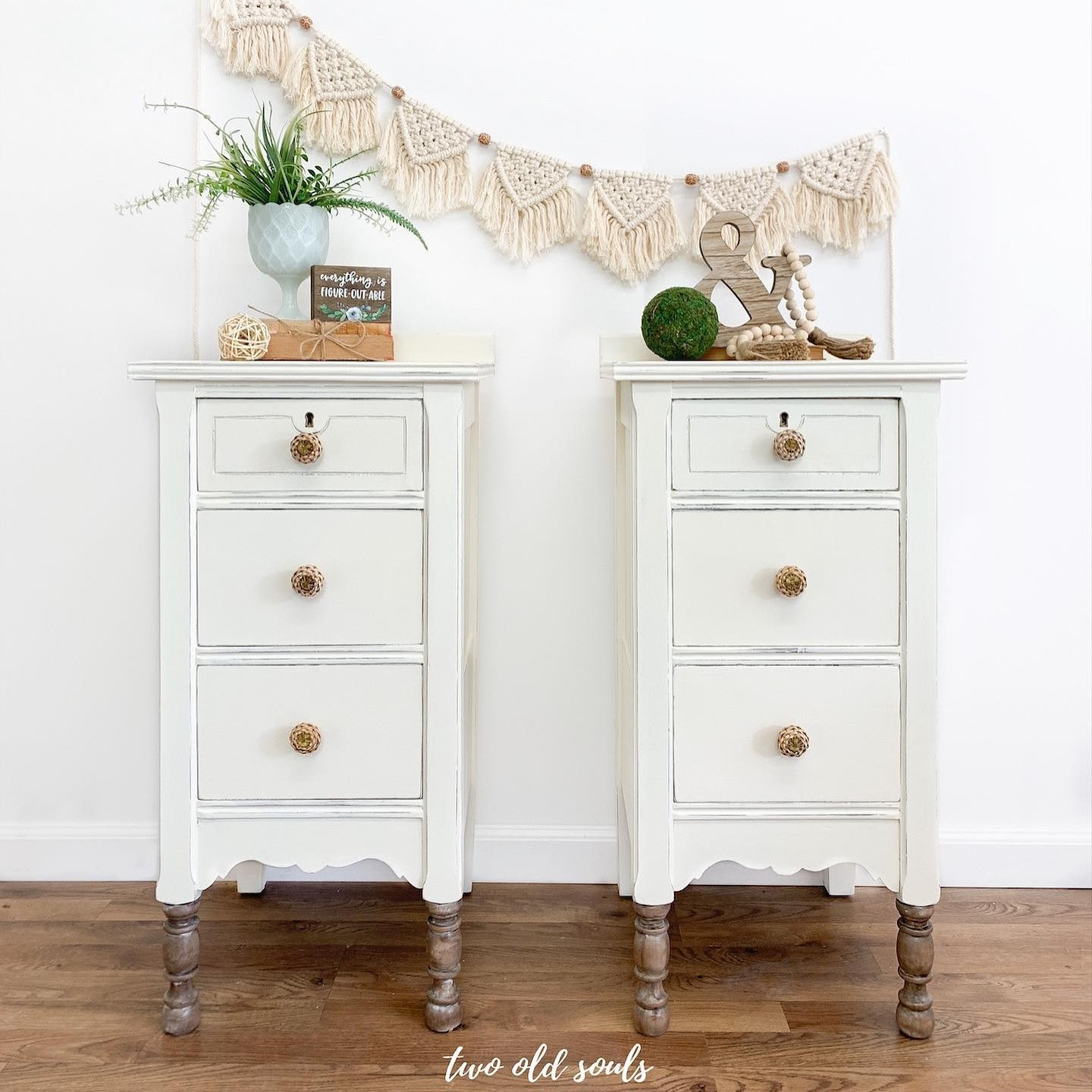 Accent Tables in Crinoline with Stained Wood Legs