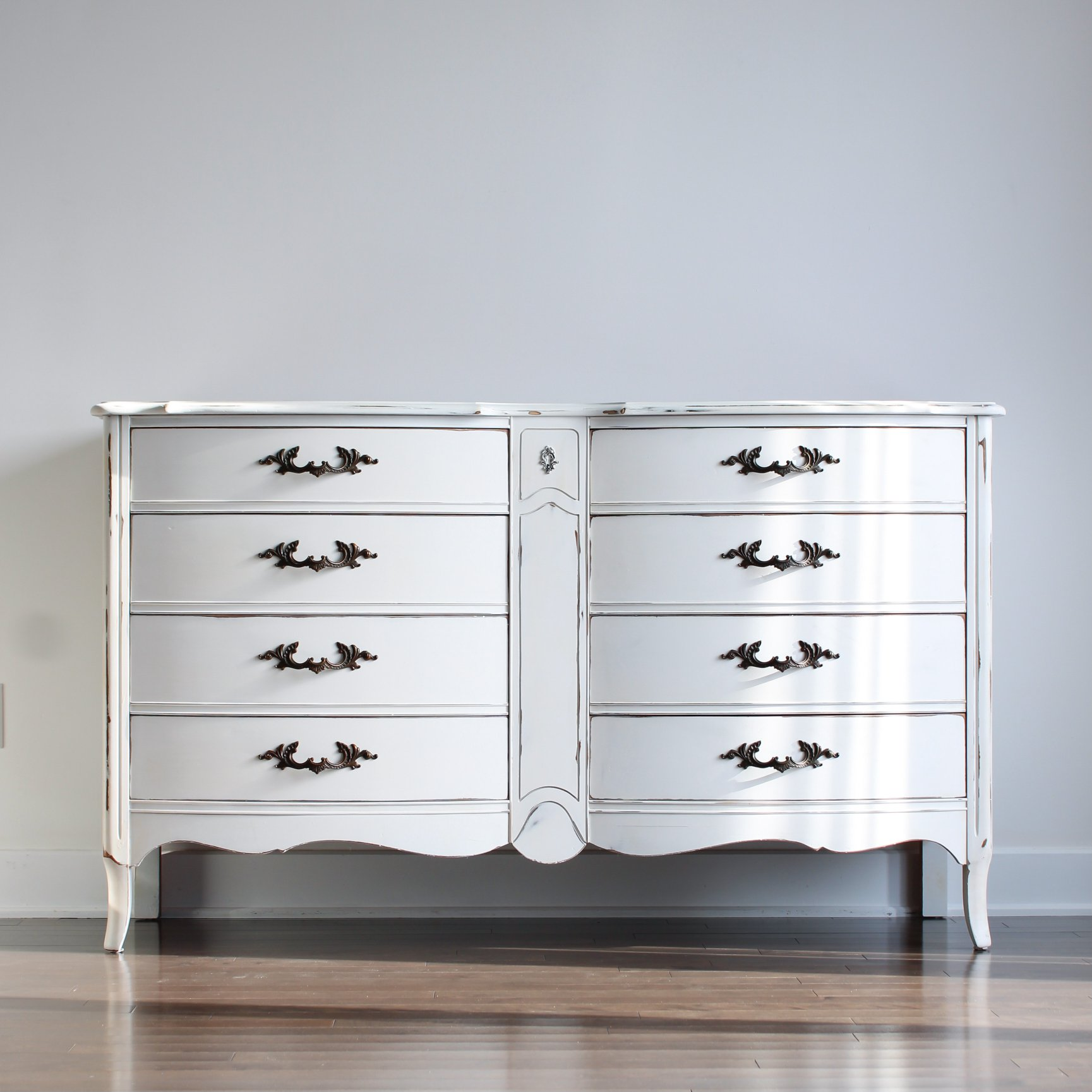Bow-Front French Provincial Dresser in Crinoline with Clear Coat