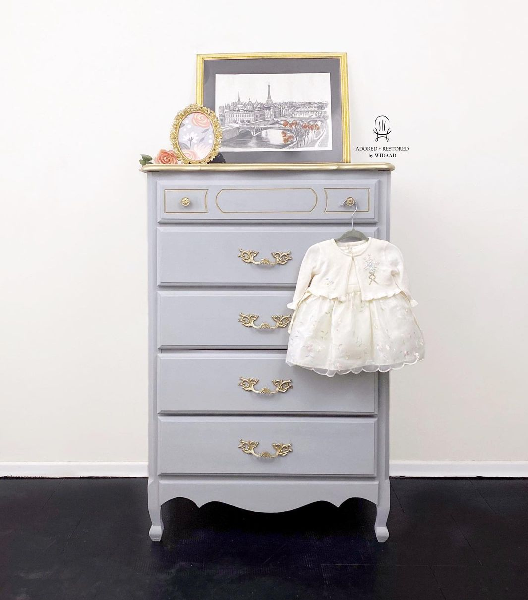 Tall Dresser in Cut a Rug with Champagne Gold Accents