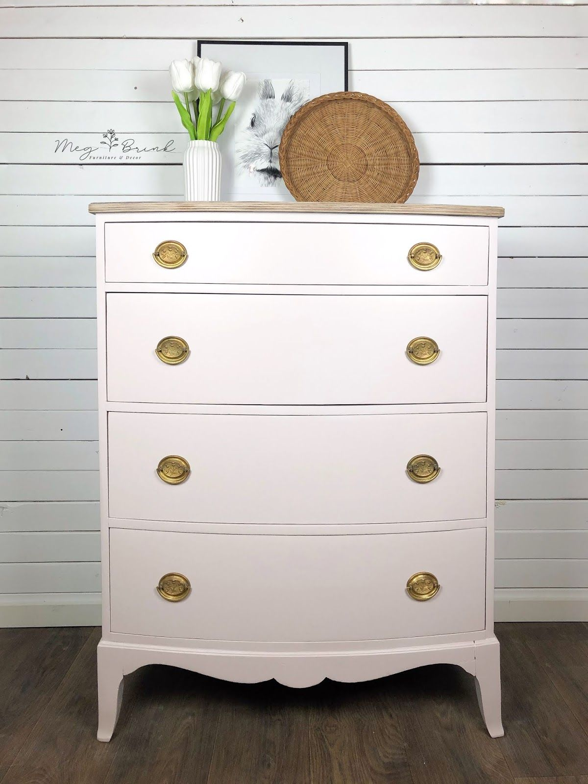 Bow-Front Dresser in Darling with Gold Hardware
