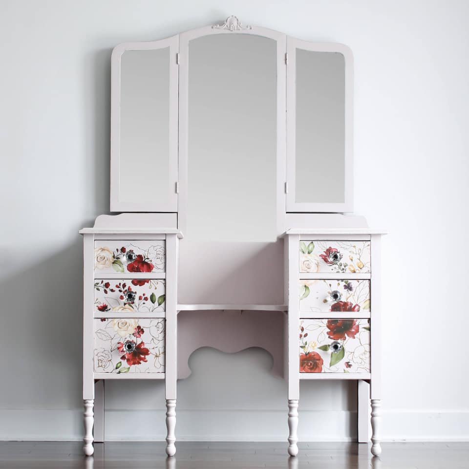 Floral Vanity with Mirror in Darling