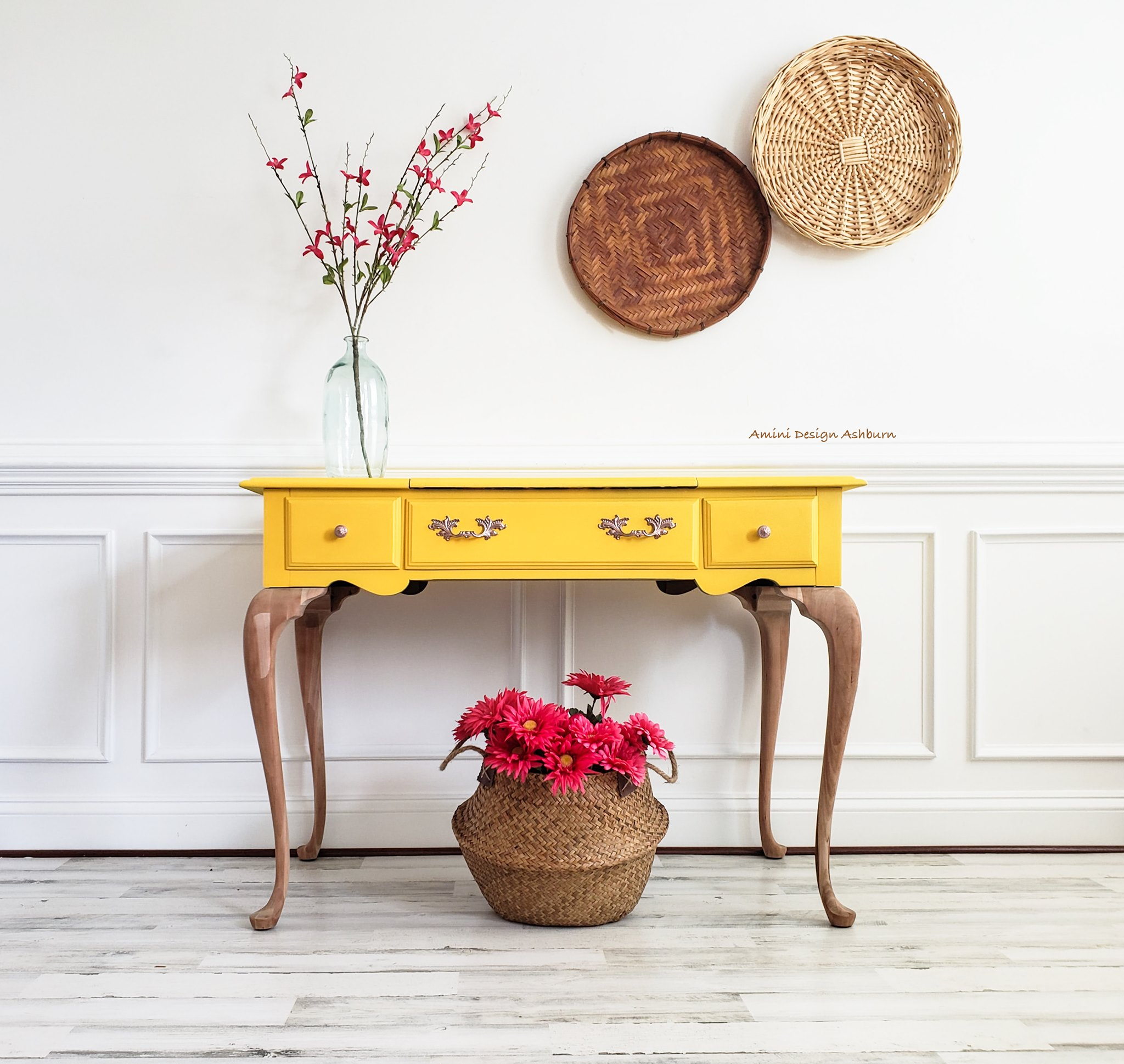 Accent/Foyer Table in Fresh Mustard with Stained Legs