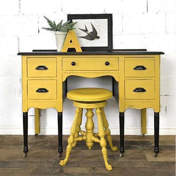 Elegant Desk with Stool in a mix of Fresh Mustard and Rhapsody with Stained Top and Legs