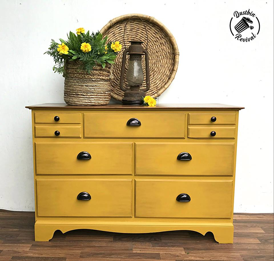 Small Dresser in a Fresh Mustard/Rhapsody Mix with Dark Stained Top