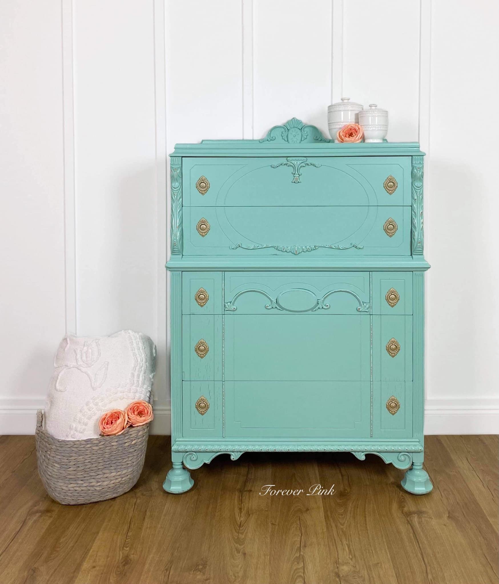 Tall Five Drawer Dresser in Bliss with Gold Hardware