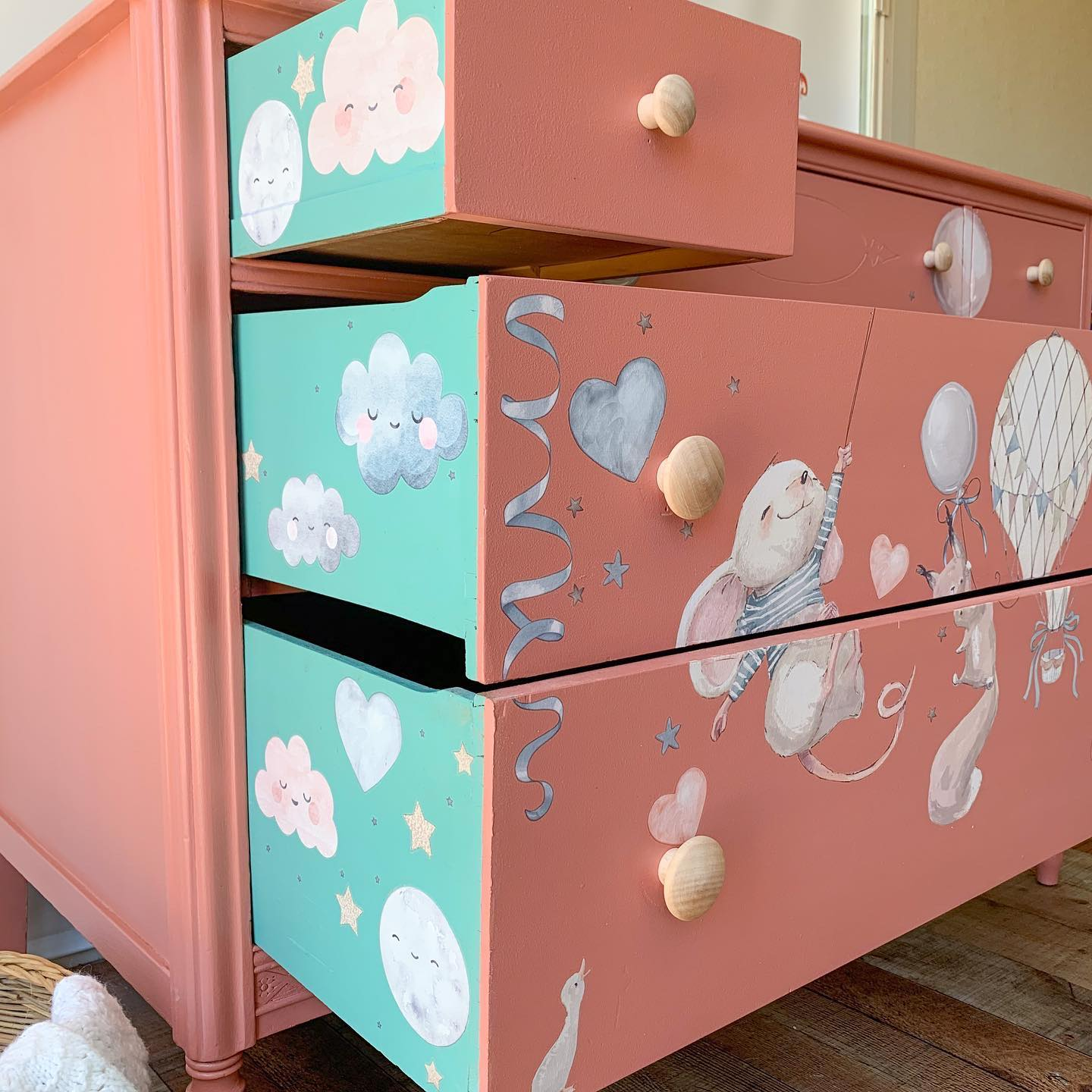 Changing Table/Dresser for Nursery in Peachy Keen and Bliss