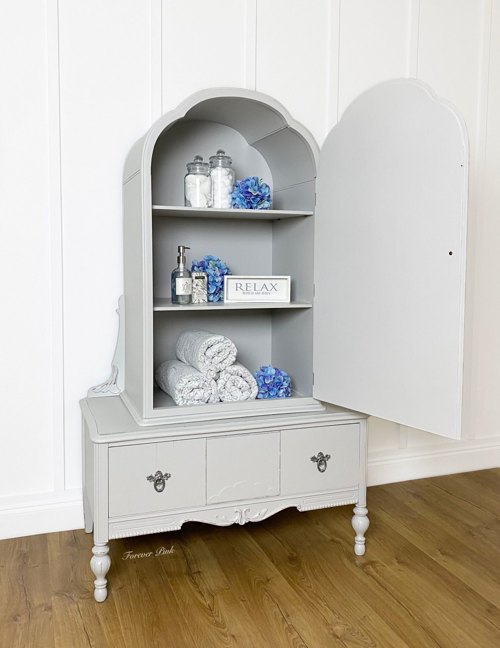 Storage Cabinet in Lazy Linen with Clear Coat