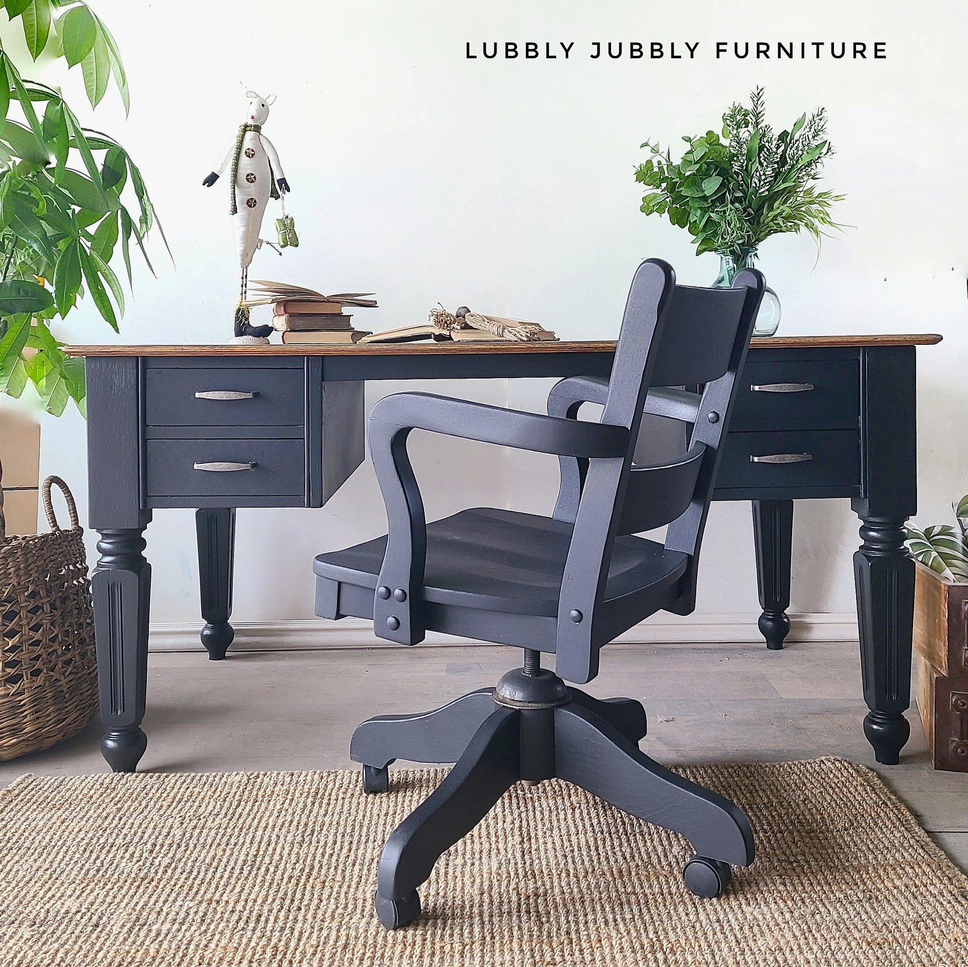 Desk and Library Chair in Liquorice with Clear Coat
