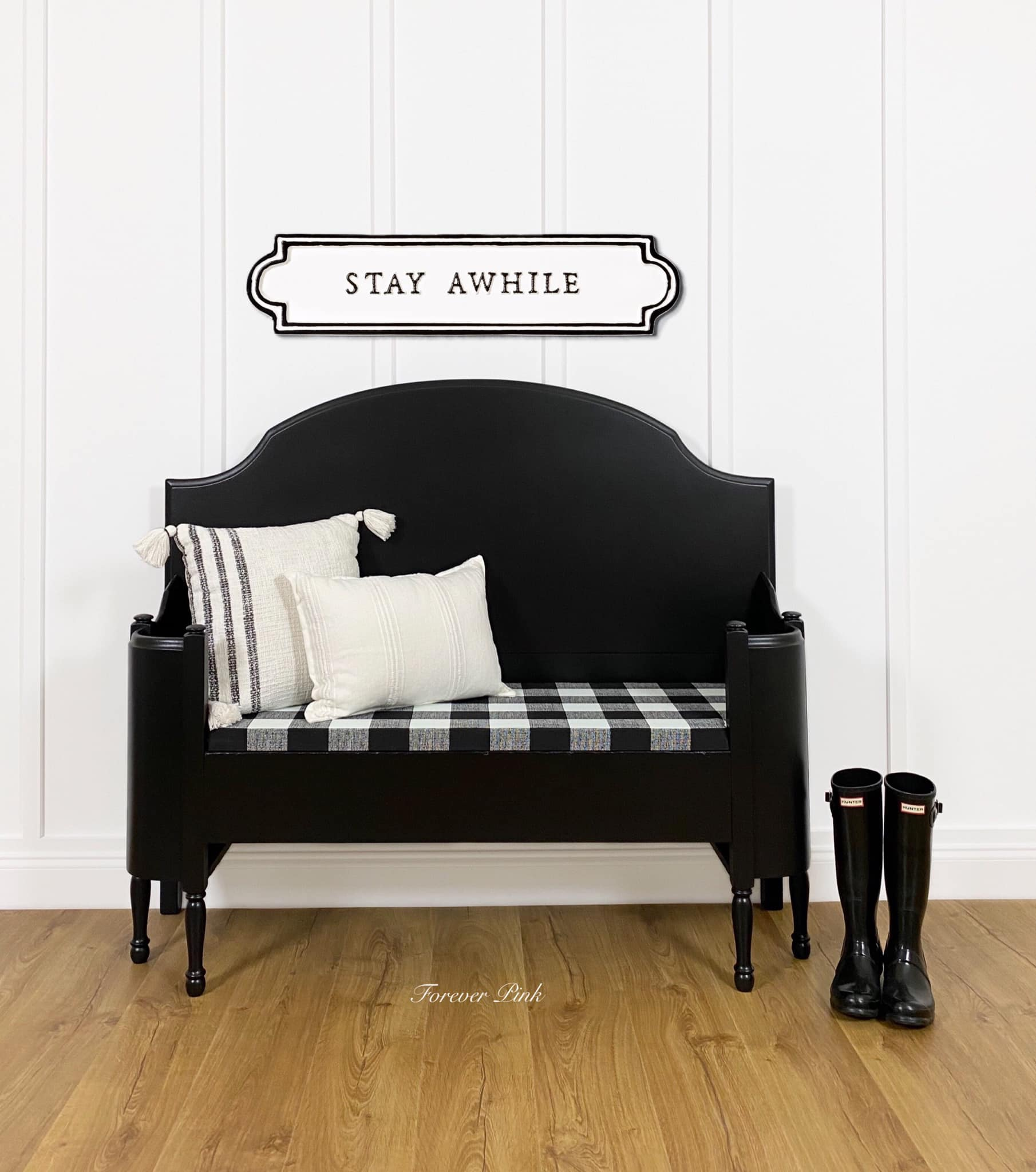 Top 10 paint colors from Country Chic Paint - pure black color called Liquorice - bed frame upcycled into bench with buffalo plaid upholstery and black hunter boots