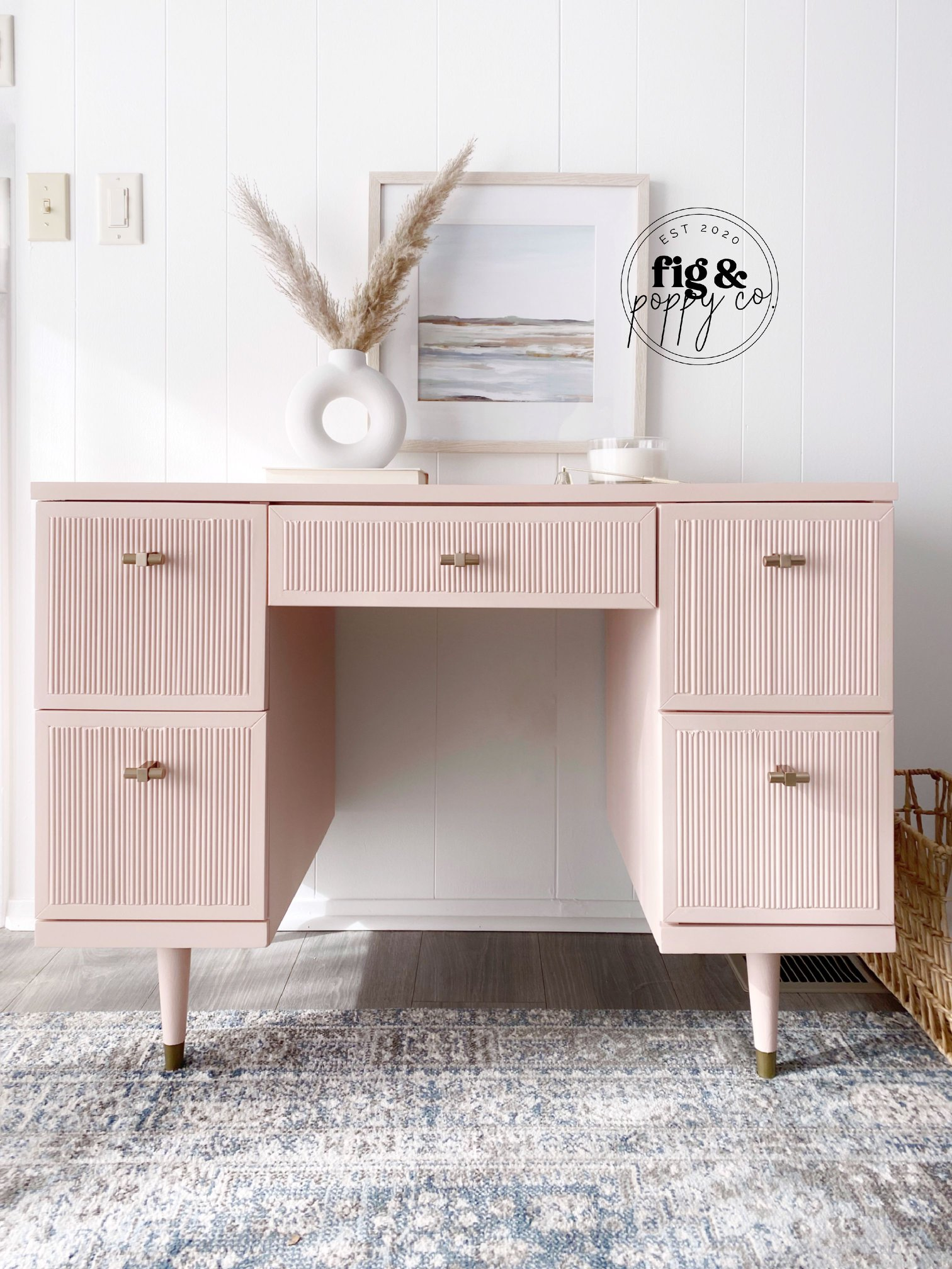 Modern Desk in Ooh La La with Gold Accents