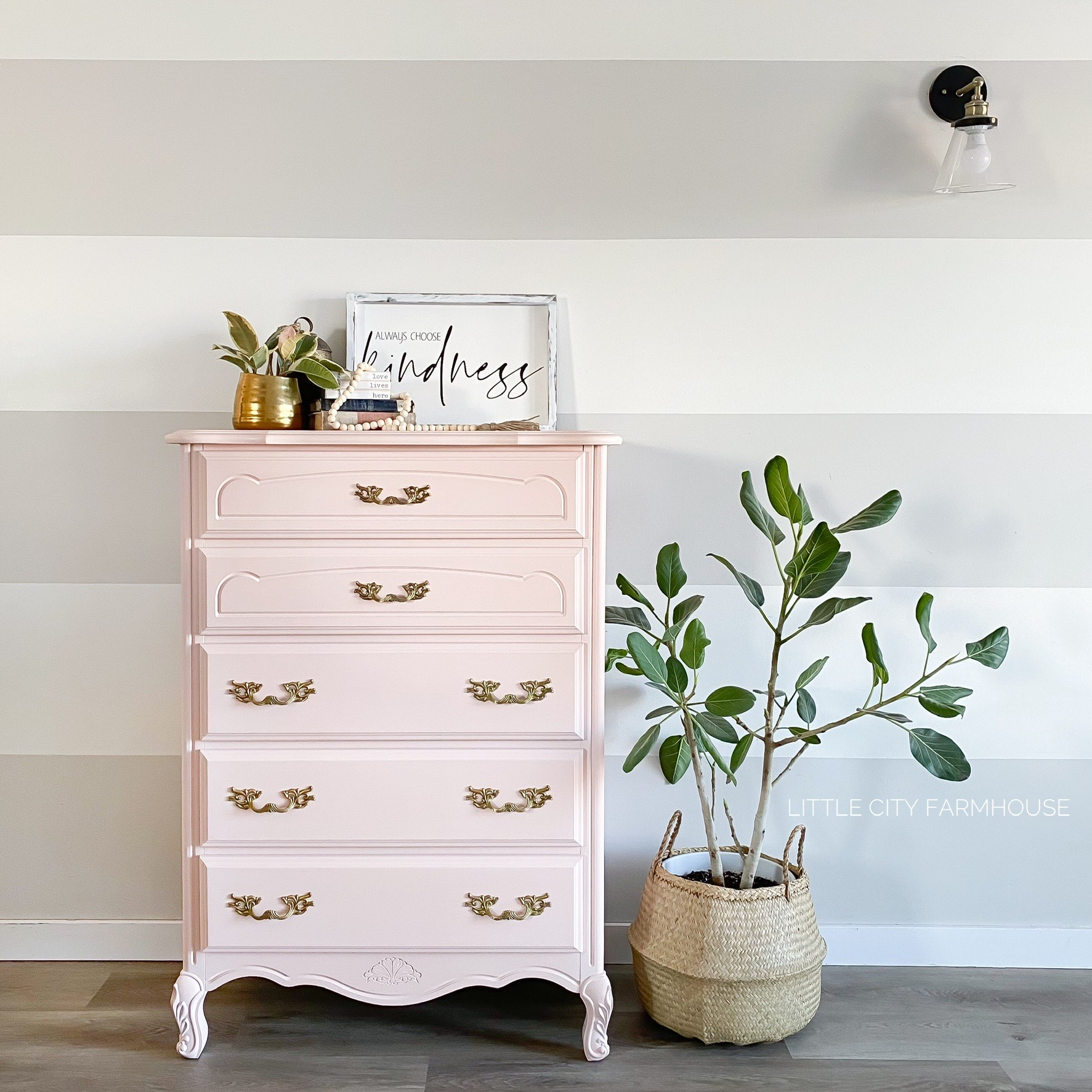 Tall French Provincial Dresser in Ooh La La with Gold Hardware