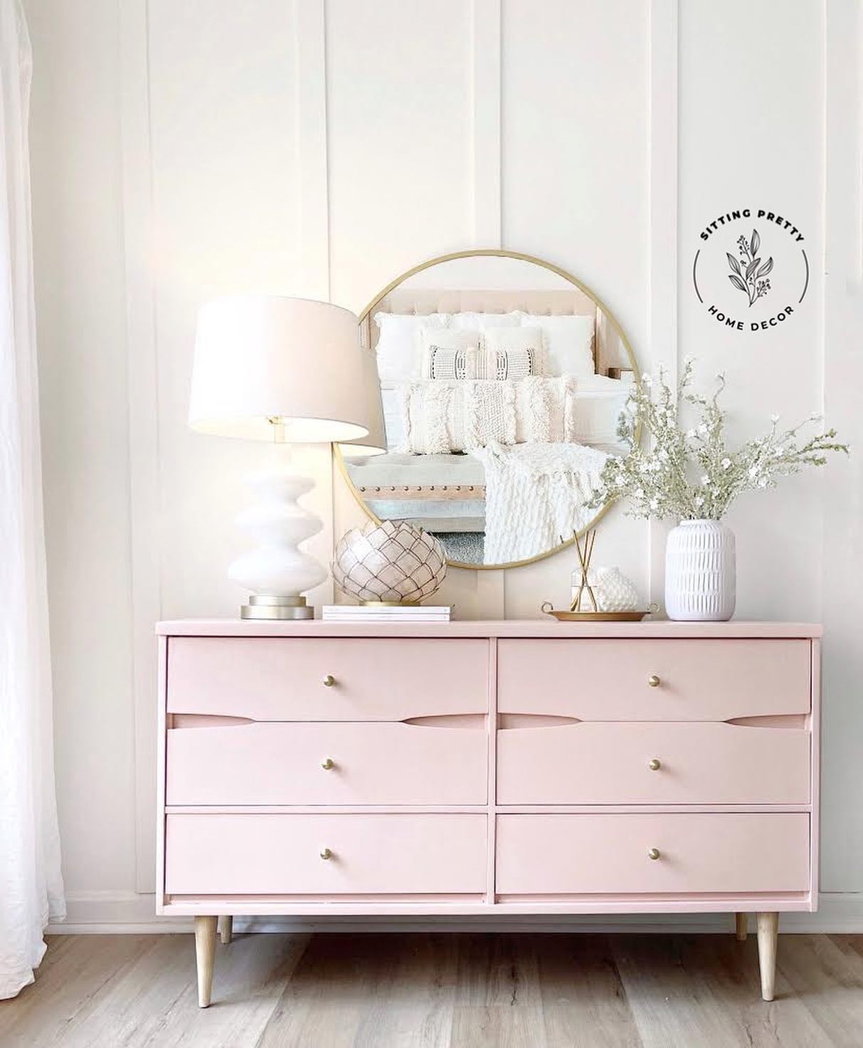 Six Drawer Dresser in Ooh La La with Gold Accents