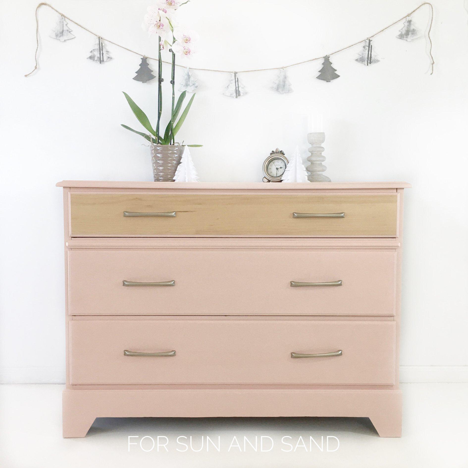 Modern Three Drawer Dresser in Ooh La La with Natural Wood Drawer