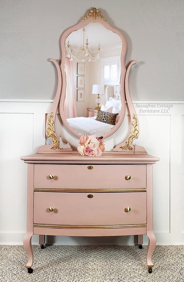 Petite Dresser with Mirror in Ooh La La with Gold Accents