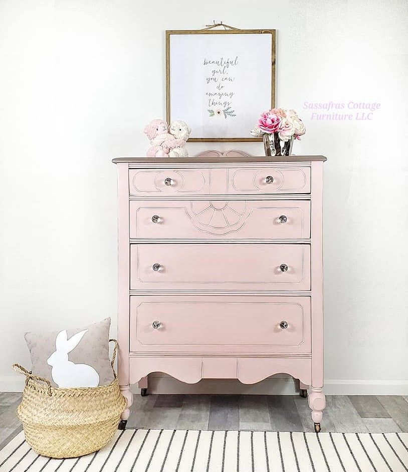 Tall Four Drawer Dresser in Ooh La La with White Wax