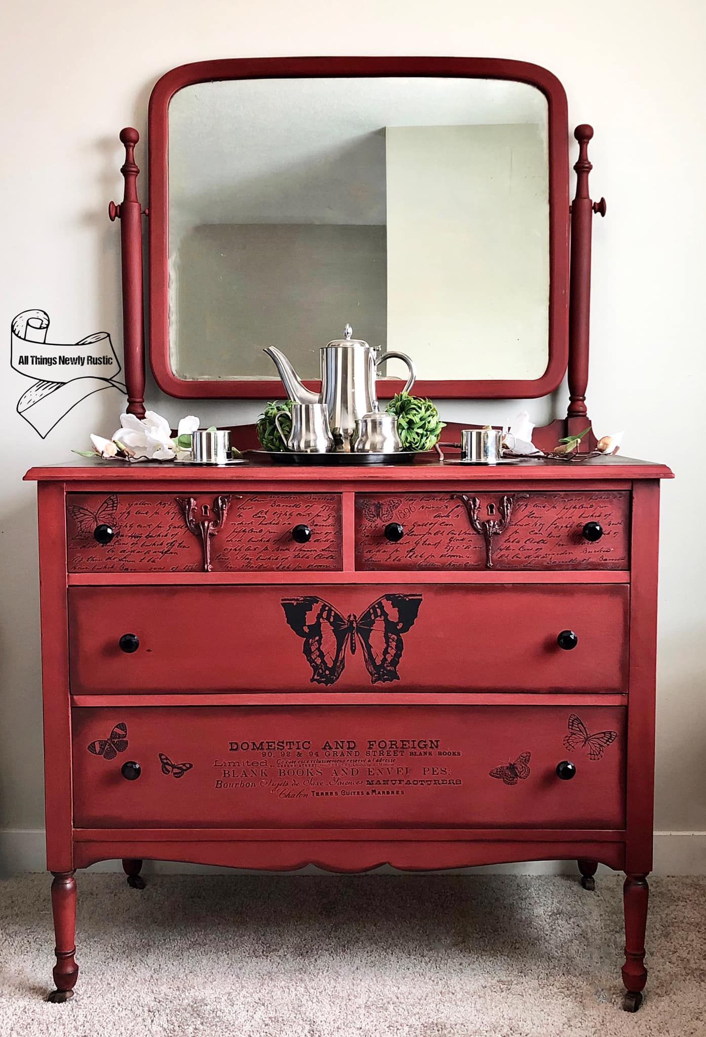 Farmhouse Dresser with Mirror in Paint The Town with Black Wax
