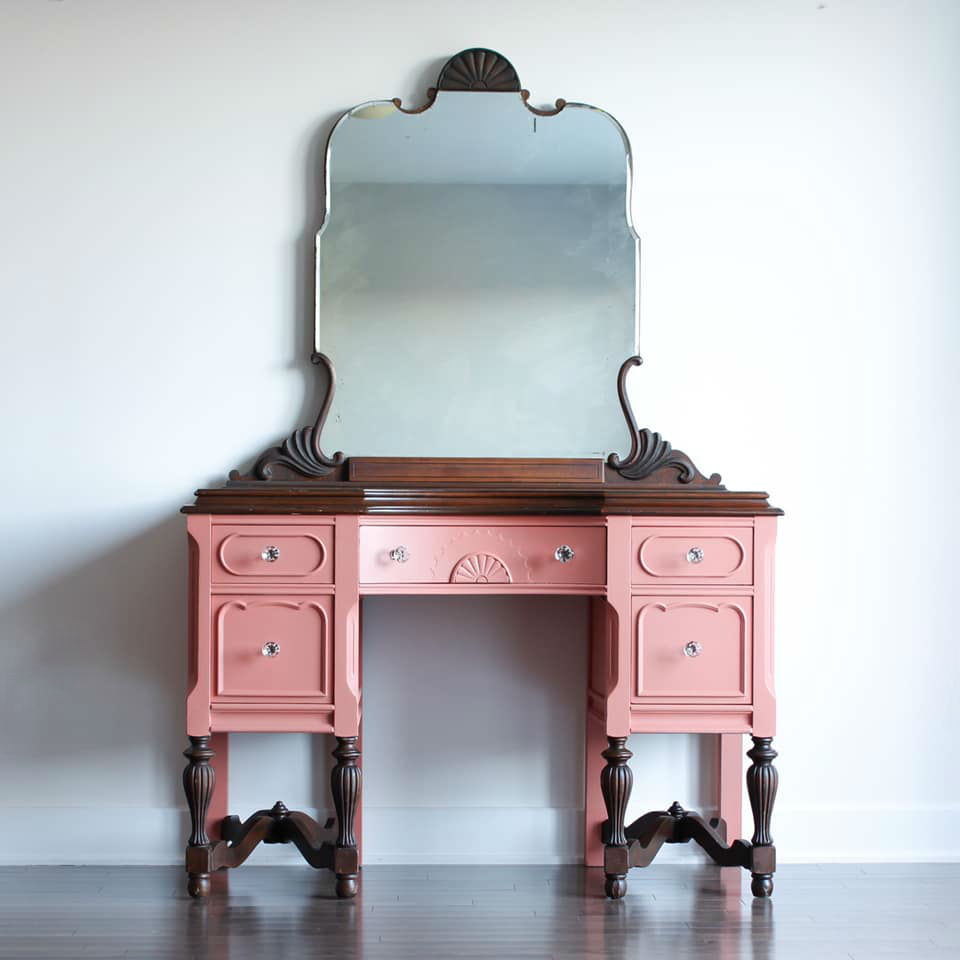 Two-Tone Vanity with Mirror in Peachy Keen and Dark Wood