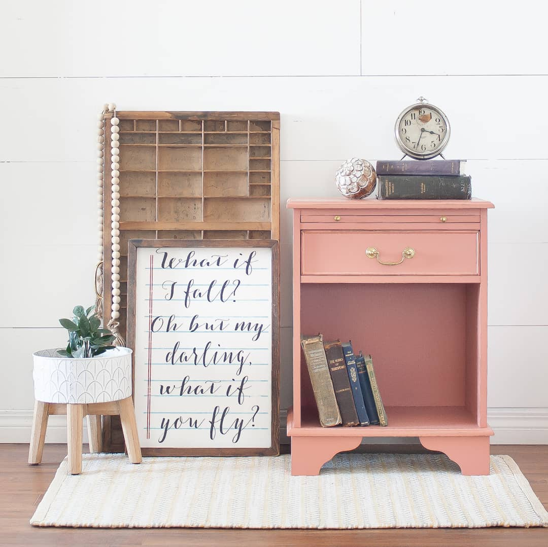 Accent Storage Table in Peachy Keen