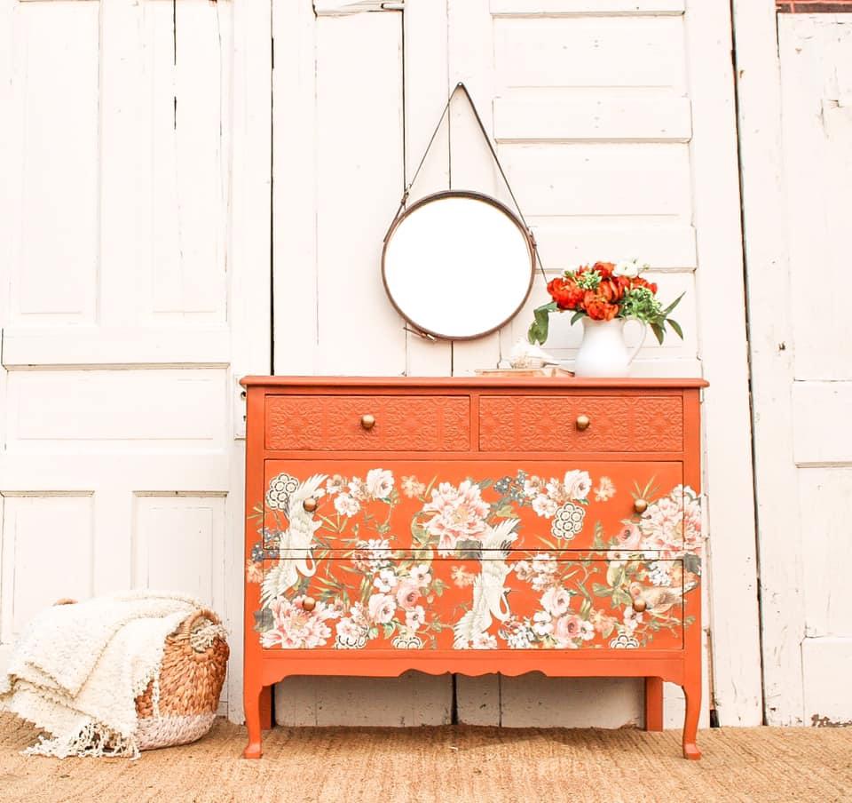 Petite Floral Dresser in Peachy Keen