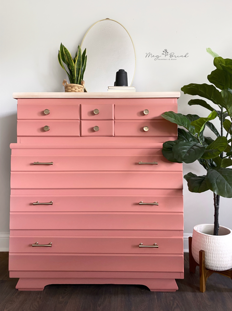 Tall Chest of Drawers in Peachy Keen
