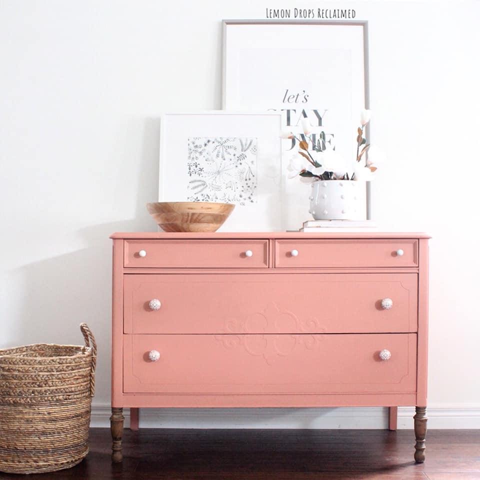 Modern Farmhouse Dresser in Peachy Keen