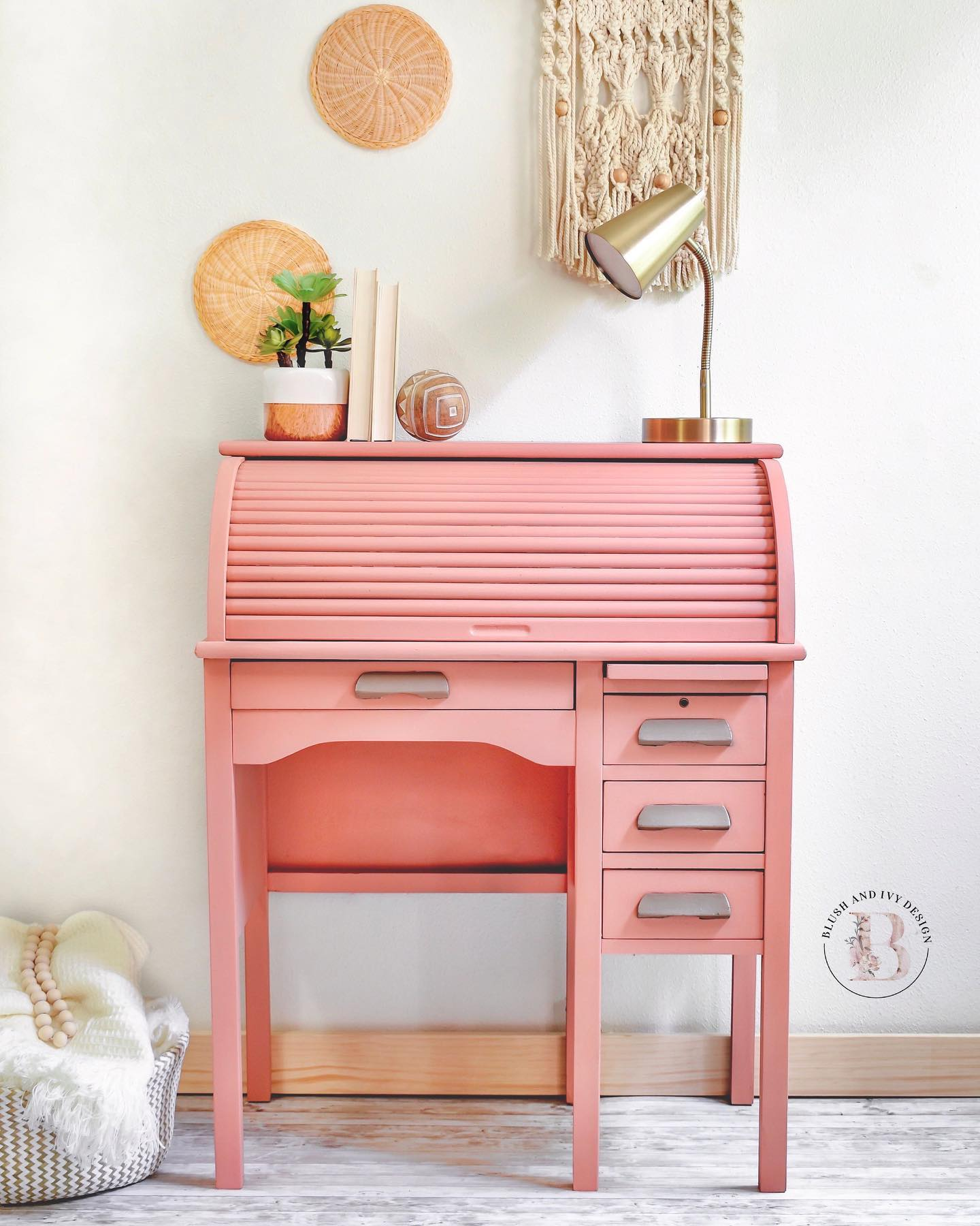 Roll Top Desk in Peachy Keen with Silver Accents