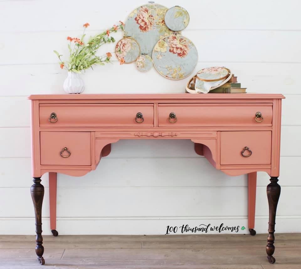 Elegant Desk in Peachy Keen with Dark Wood Legs